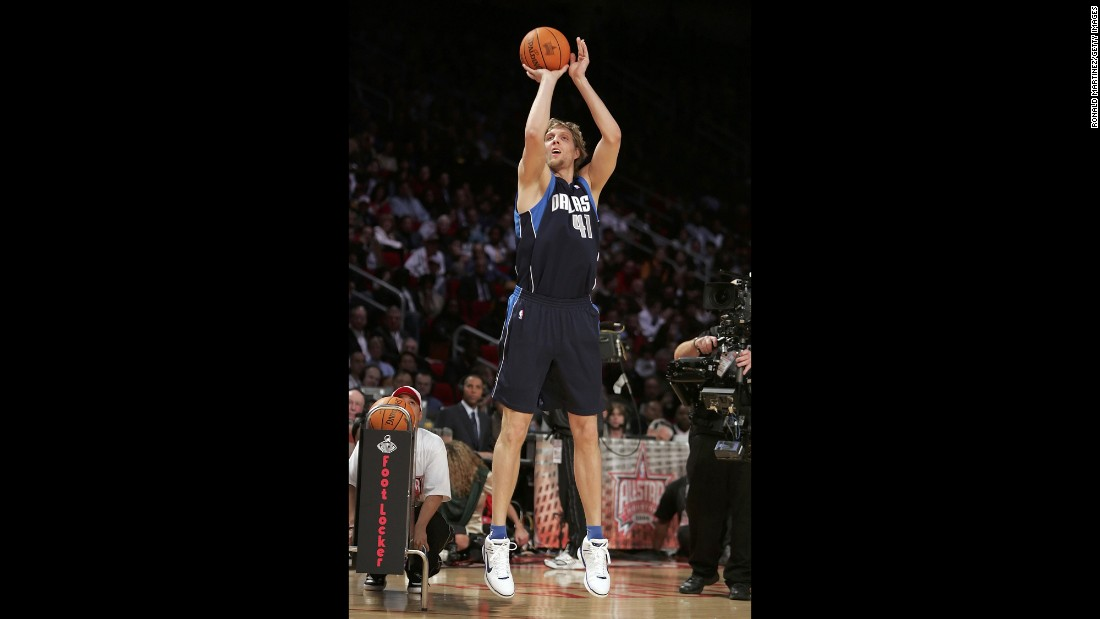<strong>Tallest player to win:</strong> Dallas star Dirk Nowitzki is the only 7-foot-tall player to win the contest, taking home the title in 2006. Mark Price, at 6 feet tall, is the shortest. He won in 1993 and 1994.