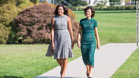 First Lady Michelle Obama, and Mrs. Agnese Landini, make their way out to the White House Kitchen Garden on the South Lawn in Washington, DC, USA, on October 18, 2016.