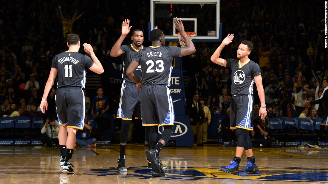 <strong>Most All-Stars from one team:</strong> This year, for the eighth time in NBA history, four players from one team will be on the All-Star team. The four players this year are from the Golden State Warriors: from left, Klay Thompson, Kevin Durant, Draymond Green and Stephen Curry.