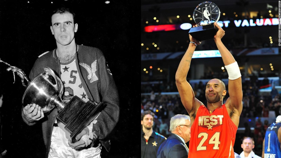 <strong>Most MVP awards:</strong> Bob Pettit, left, and Kobe Bryant each won four All-Star MVP awards during their career. Both also shared one of their awards -- Pettit split with Elgin Baylor in 1959, and Bryant shared the spoils with former teammate Shaquille O'Neal in 2009.