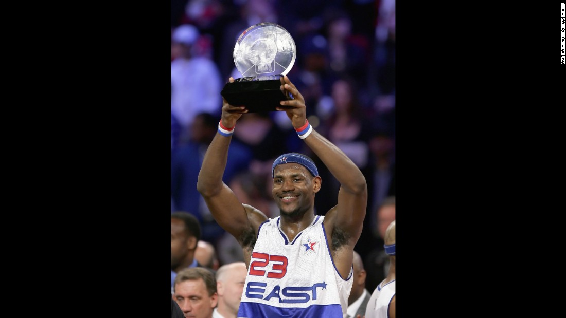 <strong>Youngest MVP:</strong> James was just 21 years (and 51 days) old when he was named All-Star MVP in 2006. He added a second MVP trophy in 2008.