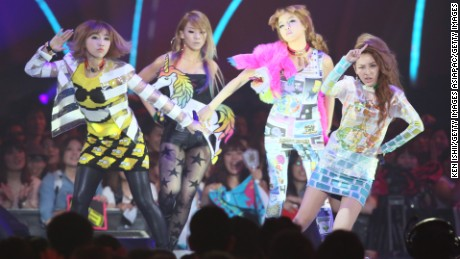 2NE1, at their concert at the MTV Video Music Awards Japan 2012 at Makuhari Messe on June 23, 2012 in Chiba, Japan.