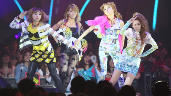 2NE1 at their concert at the MTV Video Music Awards Japan 2012 at Makuhari Messe on June 23, 2012, in Chiba, Japan. The South Korean pop band disbanded November 2016.