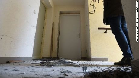 A picture shows the debris of an explosion after French anti-terrorist police (RAID) raided an apartment, where suspects believed to be involved in plotting an attack were arrested, in an apartment building in Clapiers, near Montpellier, southern France, on February 10, 2017. Four people including a 16-year-old girl were arrested on February 10 by anti-terrorist police in Montpellier on suspicion of preparing an attack, a police source said. The other suspects were aged 20, 26 and 33, according to the source. The four were arrested after buying acetone, a highly flammable liquid that can be used to make bombs. France remains on high alert after a wave of attacks which began two years ago that has claimed more than 200 lives. / AFP / SYLVAIN THOMAS (Photo credit should read SYLVAIN THOMAS/AFP/Getty Images)