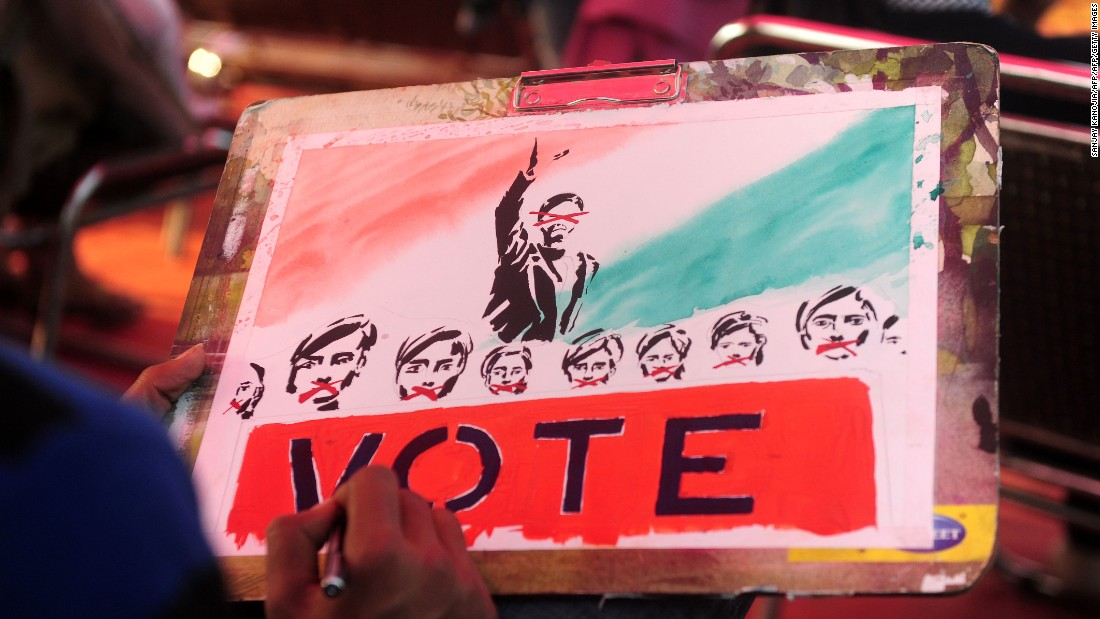 An art student paints during a voting awareness campaign ahead of the elections. As India's most populous state, Uttar Pradesh has the largest parliamentary representation and holds huge political sway.