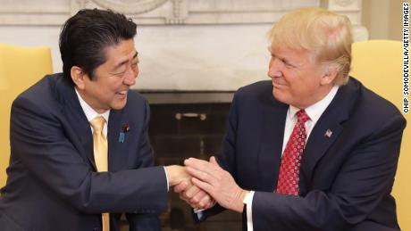 WASHINGTON, DC - FEBRUARY 10:  (AFP OUT) U.S. President Donald Trump (R) and Japanese Prime Minister Shinzo Abe pose for photographs before bilateral meetings in the Oval Office at the White House February 10, 2017 in Washington, DC. Trump and Abe are expected to discuss many issues, including trade and security ties and will hold a joint press confrence later in the day.  (Photo by Chip Somodevilla/Getty Images)