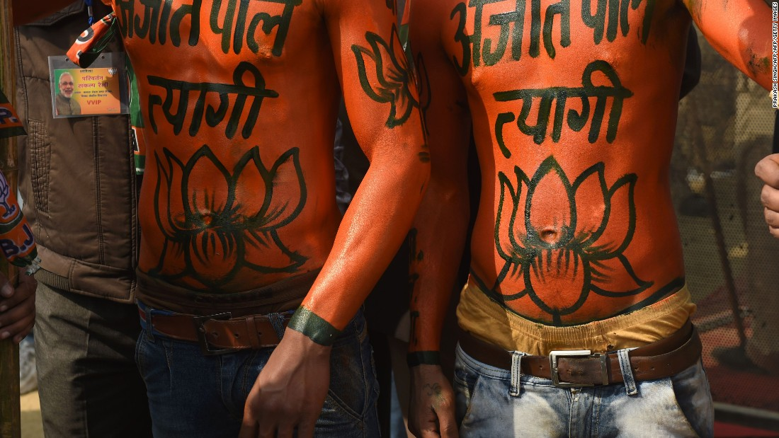 Supporters of the Bharatiya Janata Party (BJP) cheer during an election rally addressed by Indian Prime Minister Narendra Modi in February 2017.