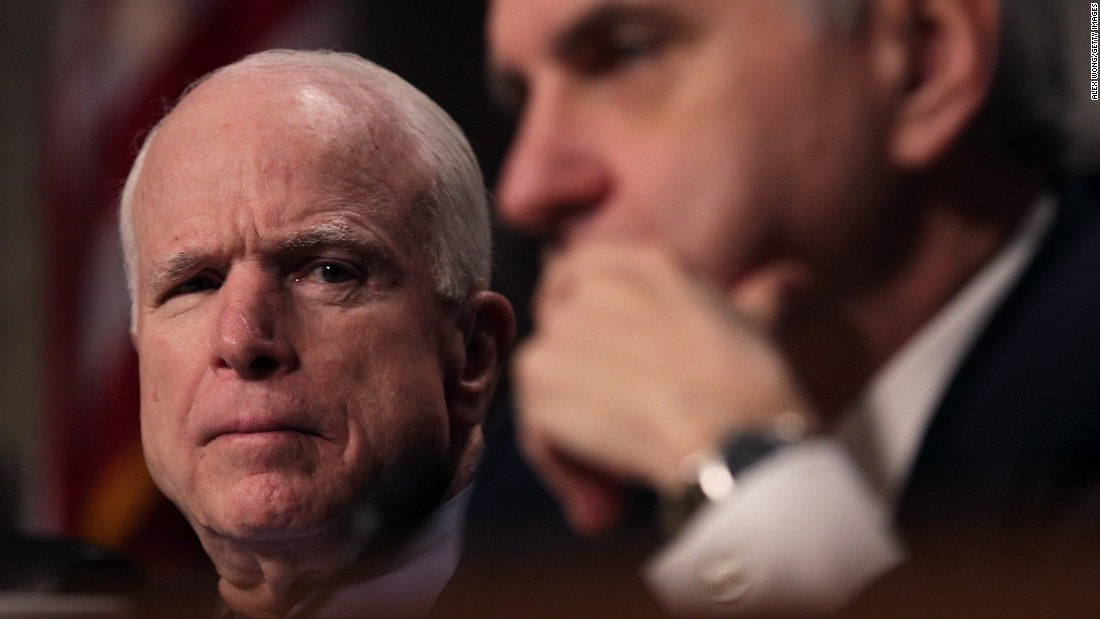 "US Sens. John McCain, left, and Jack Reed listen to testimony about Afghanistan during a hearing of the Senate Armed Services Committee on Thursday, February 9. Gen. John Nicholson, commander of US forces in Afghanistan, <a href=""http://www.cnn.com/2017/02/09/politics/afghanistan-us-troops-shortfall-general-nicholson/"" target=""_blank"">said that the coalition faced ""a shortfall of a few thousand"" troops</a> to break the ""stalemate"" it faces there."