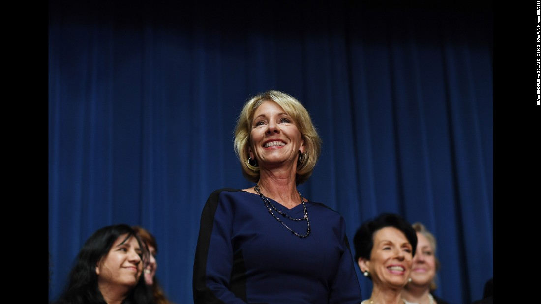 "Education Secretary Betsy DeVos, who was confirmed a day earlier, speaks at the Department of Education on Wednesday, February 8. Vice President Mike Pence <a href=""http://www.cnn.com/2017/02/07/politics/betsy-devos-senate-vote/"" target=""_blank"">cast a historic tie-breaking vote</a> to confirm DeVos after the Senate was divided 50-50. <a href=""http://www.cnn.com/2017/01/10/politics/gallery/trump-cabinet-confirmation-hearings/index.html"" target=""_blank"">Photos: Trump's nominees and their confirmation hearings</a>"