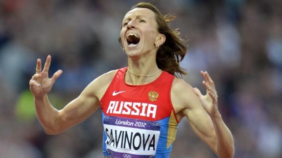 Savinova celebrates after her London 2012 win.