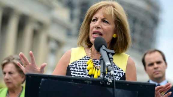 Congresswoman Jackie Speier joins members of MoveOn.org and members of Congress at an event to demand congress renew an assault weapons ban, along with delivering more than one million signed petitions, at United States Capitol Building on July 12, 2016 in Washington, DC.