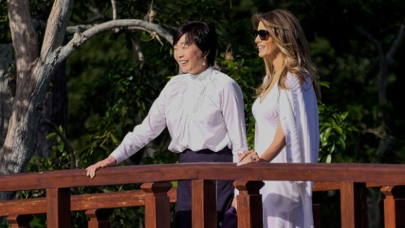 US First Lady Melania Trump and Akie Abe, wife of Japanese Prime Minister Shinzo Abe, tour Morikami Museum and Japanese Gardens in Delray Beach, Florida, on February 11, 2017. /
