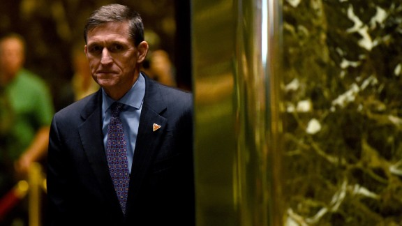 Lt. Gen. Michael Flynn arrives for a meeting with US President-elect Donald Trump at Trump Tower December 12, 2016 in New York.