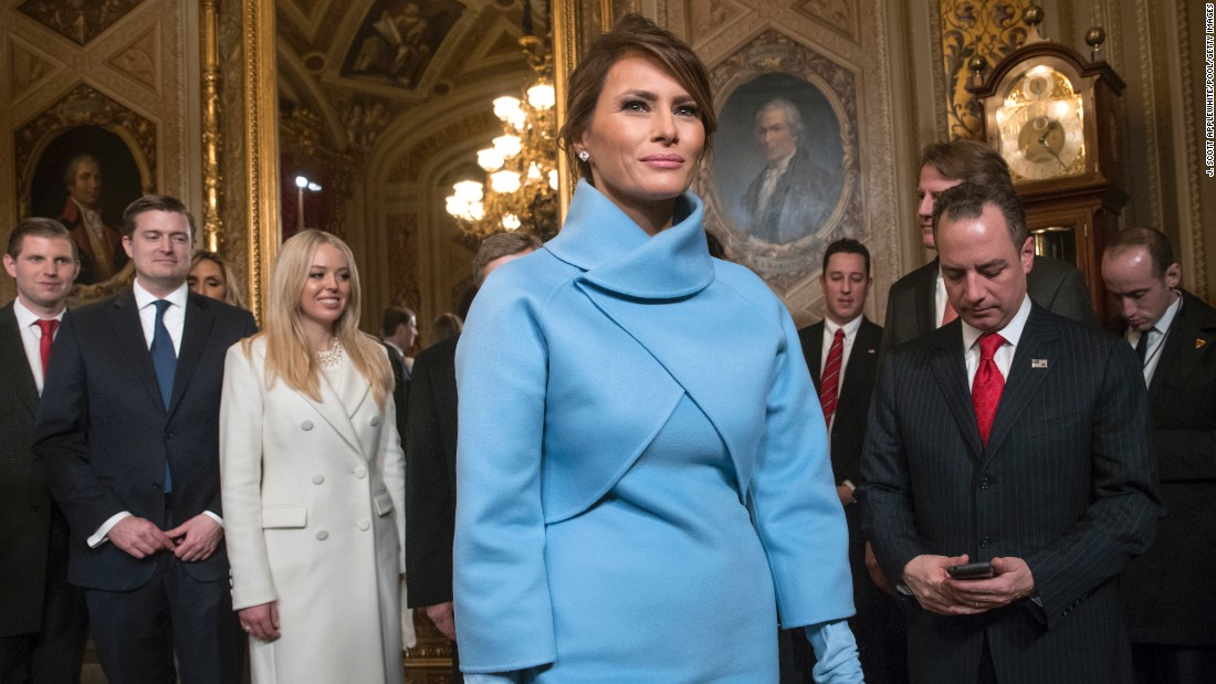 The first lady leaves the President's Room of the Senate after her husband was sworn into office on January 20.