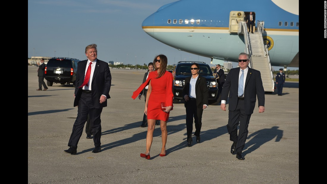 The first lady walks across the tarmac to greet well-wishers in West Palm Beach in February 2017.