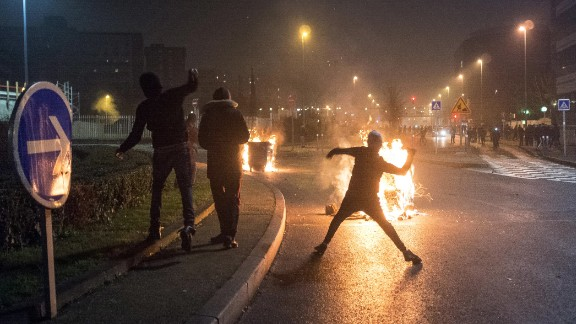 What began as a peaceful march Saturday turned violent, police said.