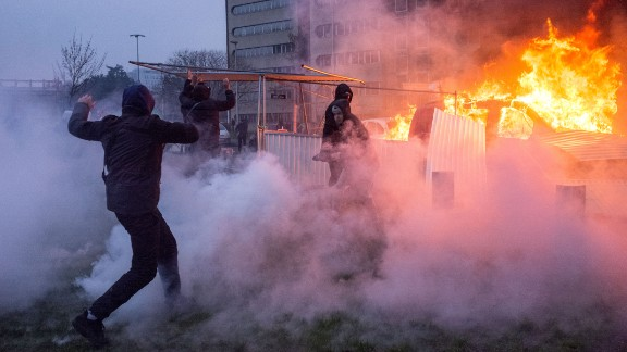 Police had to use tear gas to break up the protesters.