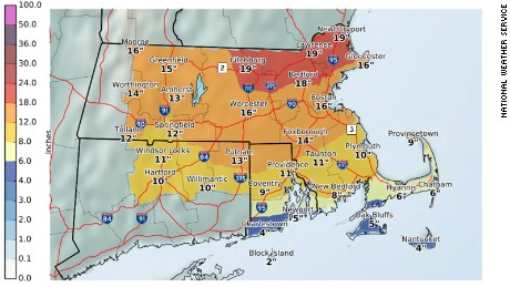Projected snowfalls for Massachusetts, Connecticut and Rhode Island.