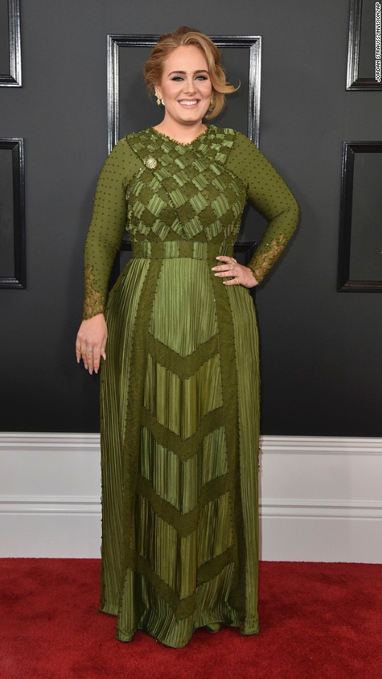 Adele arrives for the 59th annual Grammy Awards on Sunday, February 12.