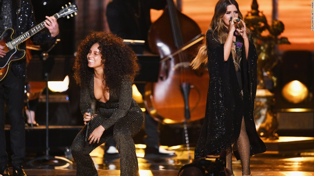 "Maren Morris, at right with Alicia Keys, took home the award for best country solo performance (""My Church"")."