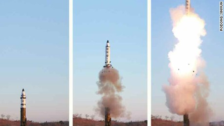 This photo from North Korean state media shows the firing of the Pukguksong-2 on Sunday. The split image appears to show the cold-launching system in effect.