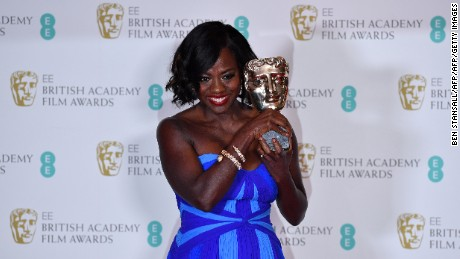 Actress Viola Davis poses with the award for a Supporting Actress for her work on the film 'Fences' at the BAFTA British Academy Film Awards.