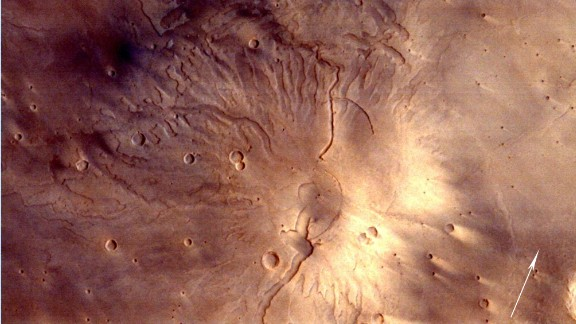 This image shows Tyrrhenus Mons, a mountain-like feature on Mars.