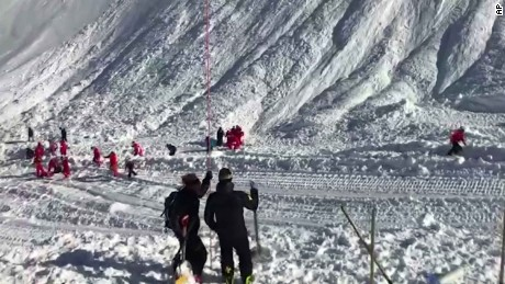 A team of 40 rescuers are looking for missing people after the avalanche in Tignes.