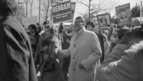 In this Feb. 26, 1980, file photo, Republican presidential hopeful Ronald Reagan and wife Nancy do some last-minute campaigning in Manchester for New Hampshire's presidential primary.