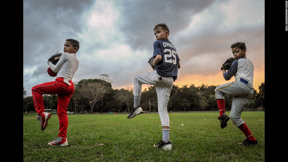 Young baseball players train in Havana, Cuba, on Tuesday, February 7.