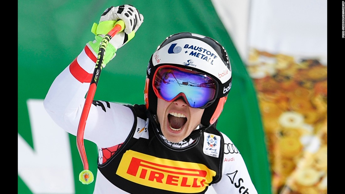 Austrian skier Nicole Schmidhofer reacts after finishing a super-G run at the World Championships on Tuesday, February 7. It was her first career win.