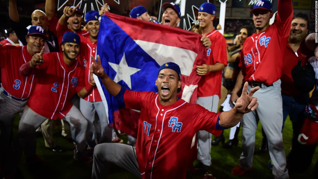 Players from the Puerto Rican baseball team Criollos de Caguas celebrate their Caribbean Series title on Tuesday, February 7. In the final, they defeated Mexico's Aguilas de Mexicali.