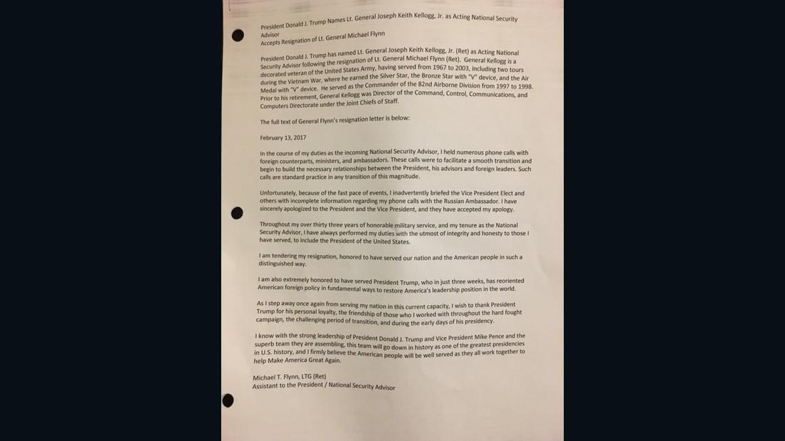 Flynn Letter Resignation