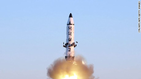 "This photo taken on February 12, 2017 and released on February 13 by North Korea's official Korean Central News Agency (KCNA) shows the launch of a surface-to-surface medium long-range ballistic missile Pukguksong-2 at an undisclosed location. North Korea said on February 13 it had successfully tested a new ballistic missile, triggering a US-led call for an urgent UN Security Council meeting after a launch seen as a challenge to President Donald Trump. / AFP / KCNA via KNS / STR / South Korea OUT / REPUBLIC OF KOREA OUT ---EDITORS NOTE--- RESTRICTED TO EDITORIAL USE - MANDATORY CREDIT ""AFP PHOTO/KCNA VIA KNS"" - NO MARKETING NO ADVERTISING CAMPAIGNS - DISTRIBUTED AS A SERVICE TO CLIENTS / THIS PICTURE WAS MADE AVAILABLE BY A THIRD PARTY. AFP CAN NOT INDEPENDENTLY VERIFY THE AUTHENTICITY, LOCATION, DATE AND CONTENT OF THIS IMAGE. THIS PHOTO IS DISTRIBUTED EXACTLY AS RECEIVED BY AFP.  /         (Photo credit should read STR/AFP/Getty Images)"