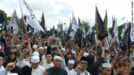 Indonesians rally in support of Muslim clerics at the National Monument in Jakarta this month.