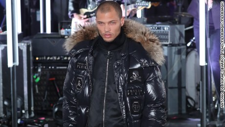 NEW YORK, NY - FEBRUARY 13:  Jeremy Meeks walks the runway at Philipp Plein during New York Fashion Week at New York Public Library on February 13, 2017 in New York City.  (Photo by Antonio de Moraes Barros Filho/FilmMagic)