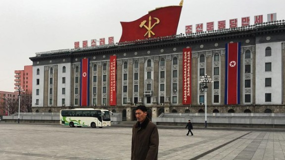 The symbol of North Korea's sole political party, the Korean Workers' Party, can be seen atop a government building in Pyongyang.