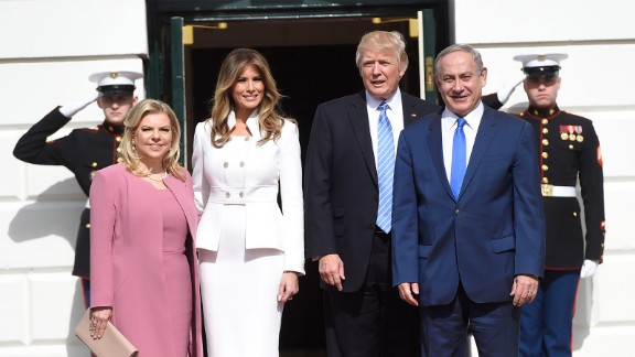 President Donald Trump and first lady Melania Trump welcome Israeli Prime Minister Benjamin Netanyahu and his wife, Sara, as they arrive at the White House in Washington, DC, on February 15, 2017
