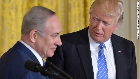 US President Donald Trump(R) welcomes Israeli Prime Minister Benjamin Netanyahu during a joint press conference at the White House in Washington, DC, February 15, 2017. / AFP / MANDEL NGAN        (Photo credit should read MANDEL NGAN/AFP/Getty Images)
