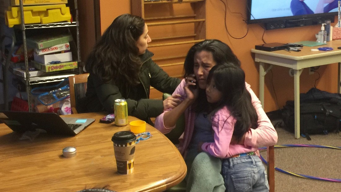 Vizguerra, with her daughter Zury and a friend, learns by phone from her lawyer that the request for an extension on the stay of her deportation order was denied.