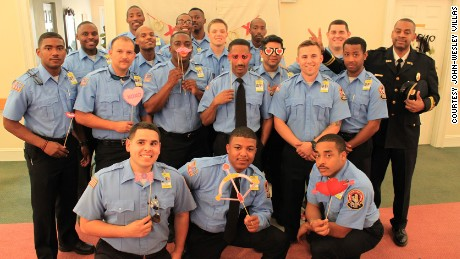 Firefighters in Macon, Georgia, join a Valentine's Day ball at John-Wesley Villas retirement home.