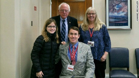 Muscular dystrophy advocates Joanne Wechsler and Bradley Stephenson, who has Becker muscular dystrophy, and his daughter Georgia met with Sen. Bernie Sanders this week.