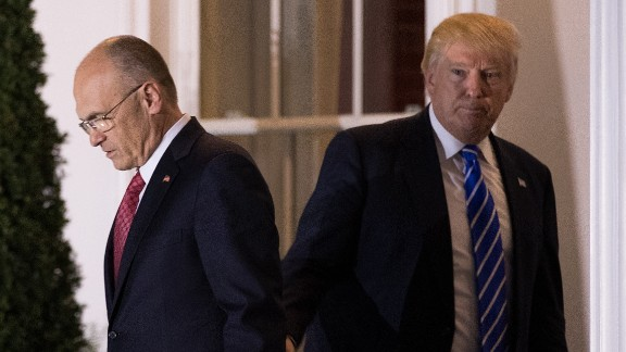 BEDMINSTER TOWNSHIP, NJ - NOVEMBER 19: (L to R) Andrew Puzder, chief executive of CKE Restaurants, exits after his meeting with president-elect Donald Trump at Trump International Golf Club, November 19, 2016 in Bedminster Township, New Jersey. (Photo by Drew Angerer/Getty Images)