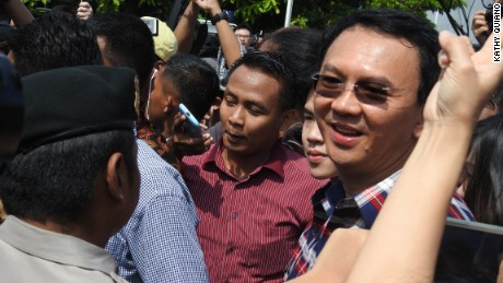 Jakarta governor Basuki Tjahaja Purnama, known as Ahok, after casting his vote at a polling station on Wednesday February 15.