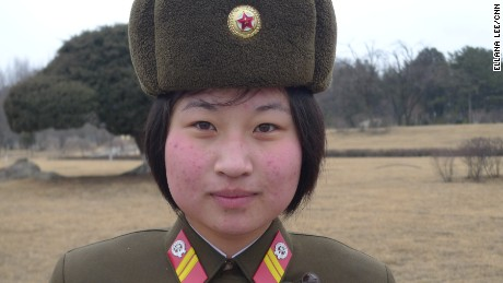 A North Korean female soldier stands guard at the Mansu Hill Grand Monument, Thursday, February 16.