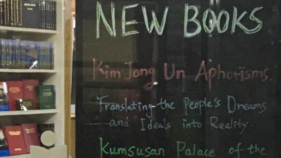 Book titles are listed in English at a bookshop for tourists in the Yanggakdo Hotel in Pyongyang.