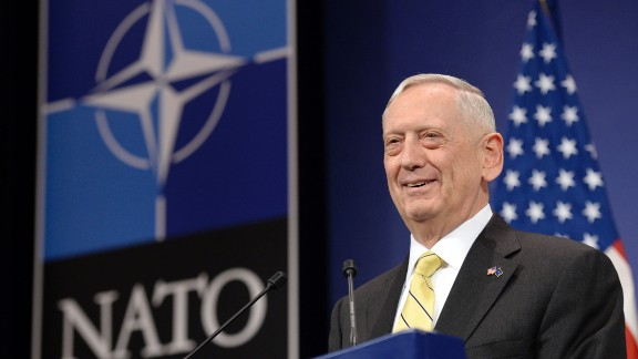 """US Secretary of Defence James Mattis delivers a speech during a press conference following the NATO Defence Ministers' meeting at NATO headquarter in Brussels, on February 16, 2017. The US military is not yet ready to cooperate with Russia, Pentagon chief James Mattis said on February 16, 2017 after Moscow's defence minister called for better ties. """"We are not in a position right now to collaborate on a military level, but our political leaders will engage and try to find common ground or a way forward,"""" Mattis told reporters at a NATO summit in Brussels.  / AFP / THIERRY CHARLIER        (Photo credit should read THIERRY CHARLIER/AFP/Getty Images)"""