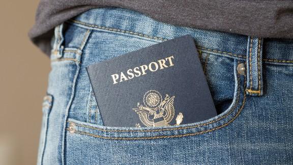 US passport in jean pocket.