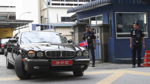 The car of the North Korean ambassador to Malaysia leaves the forensic department at the hospital in Kuala Lumpur, Malaysia on Wednesday, Feb. 15, 2017.