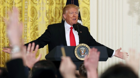 U.S. President Donald Trump takes questions from reporters during a news conference in the East Room at the White House on February 16, 2017 in Washington, DC. President Trump announced that he has nominated Alexander Acosta to be the new Labor Secretary.